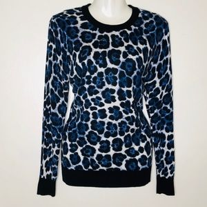 MK Michael Kors Blue Leopard Sweater